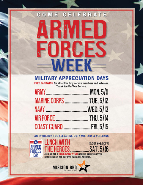 Armed Forces Day, Lunch With The Heroes @ Mission BBQ